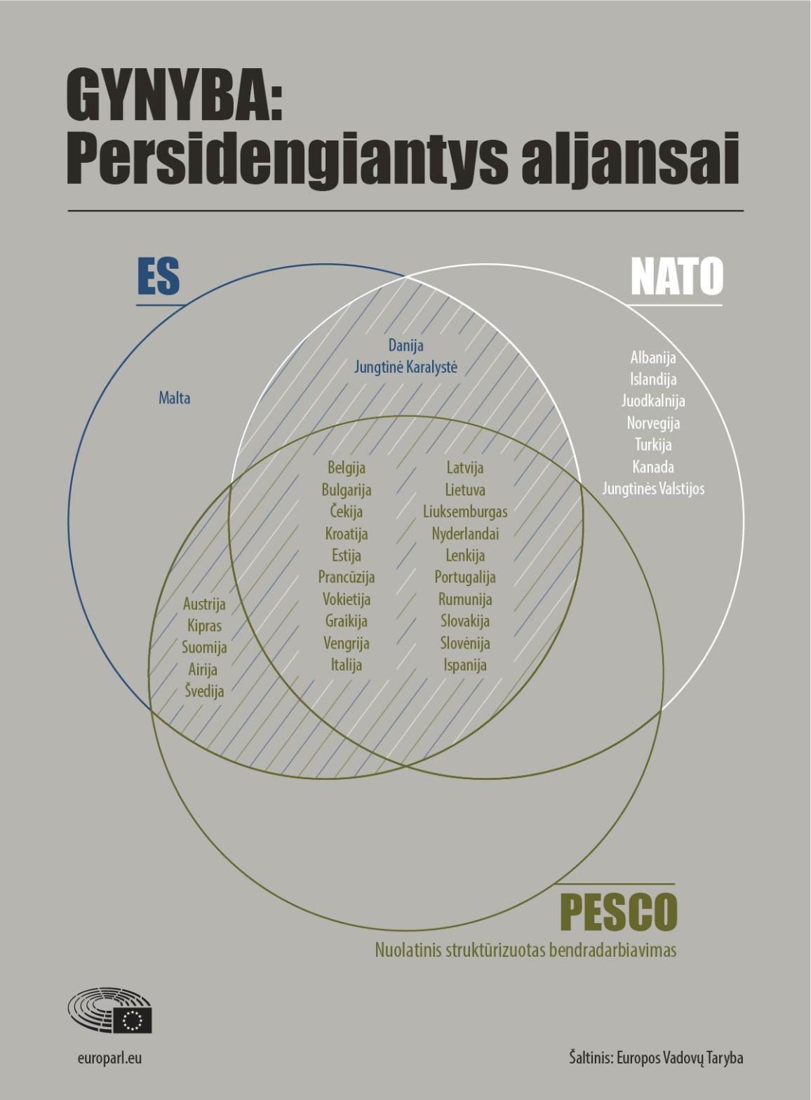 Infografikas apie šalių priklausomybę NATO, ES ir nuolatiniam struktūrizuotam bendradarbiavimui