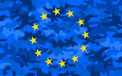 EU flag with blue military style background color, with light and dark blue mimetic patterns