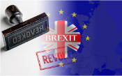 Picture of EU and UK flags superimposed with a rubber stamp stating revoked next to it