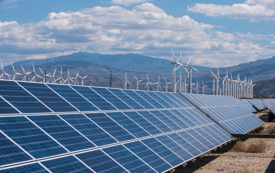 Clean energy: solar pannels and wind turbine in action ©AP Images/European Union-EP