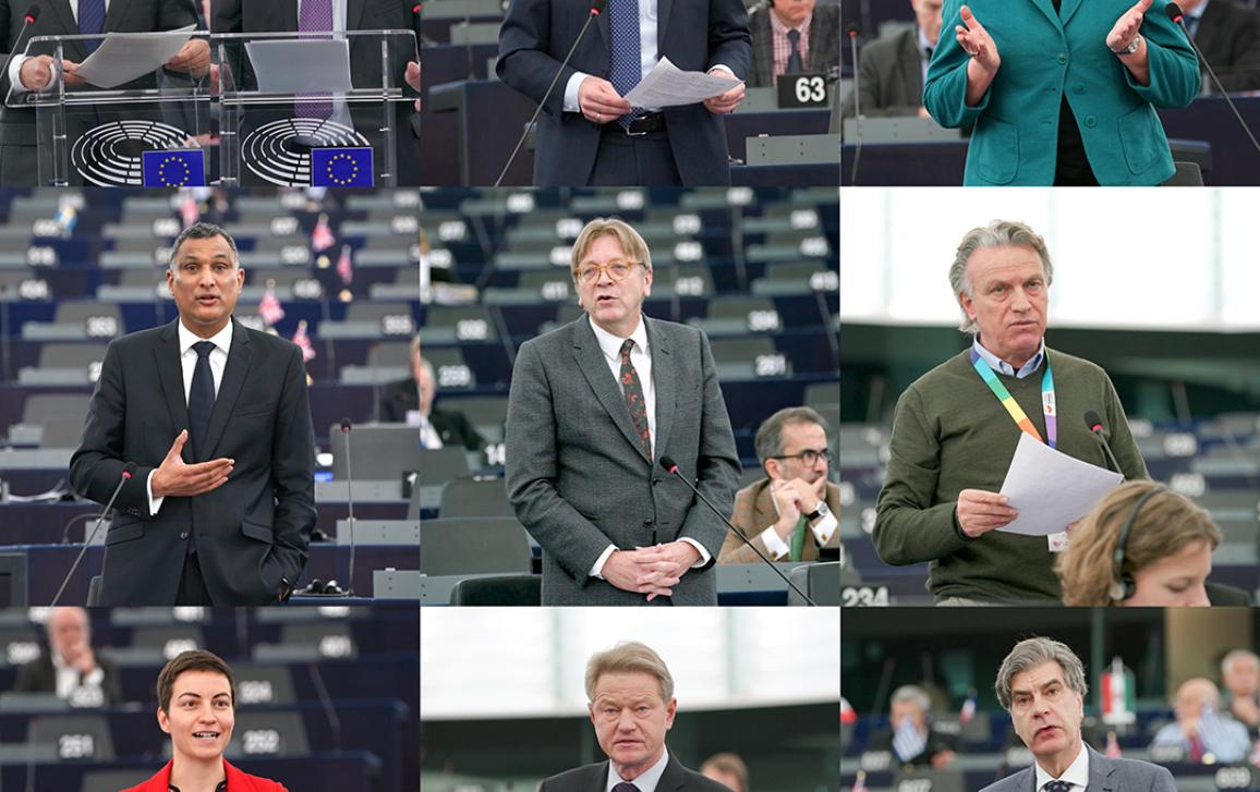 Conclusions of the European Council meeting of 14 and 15 December 2017: (L-R) Donald TUSK,  Jean-Claude JUNCKER, Manfred WEBER, Maria João RODRIGUES, Syed KAMALL, Guy VERHOFSTADT, Takis HADJIGEORGIOU, Ska KELLER, Rolandas PAKSAS, Marcel DE GRAAFF.