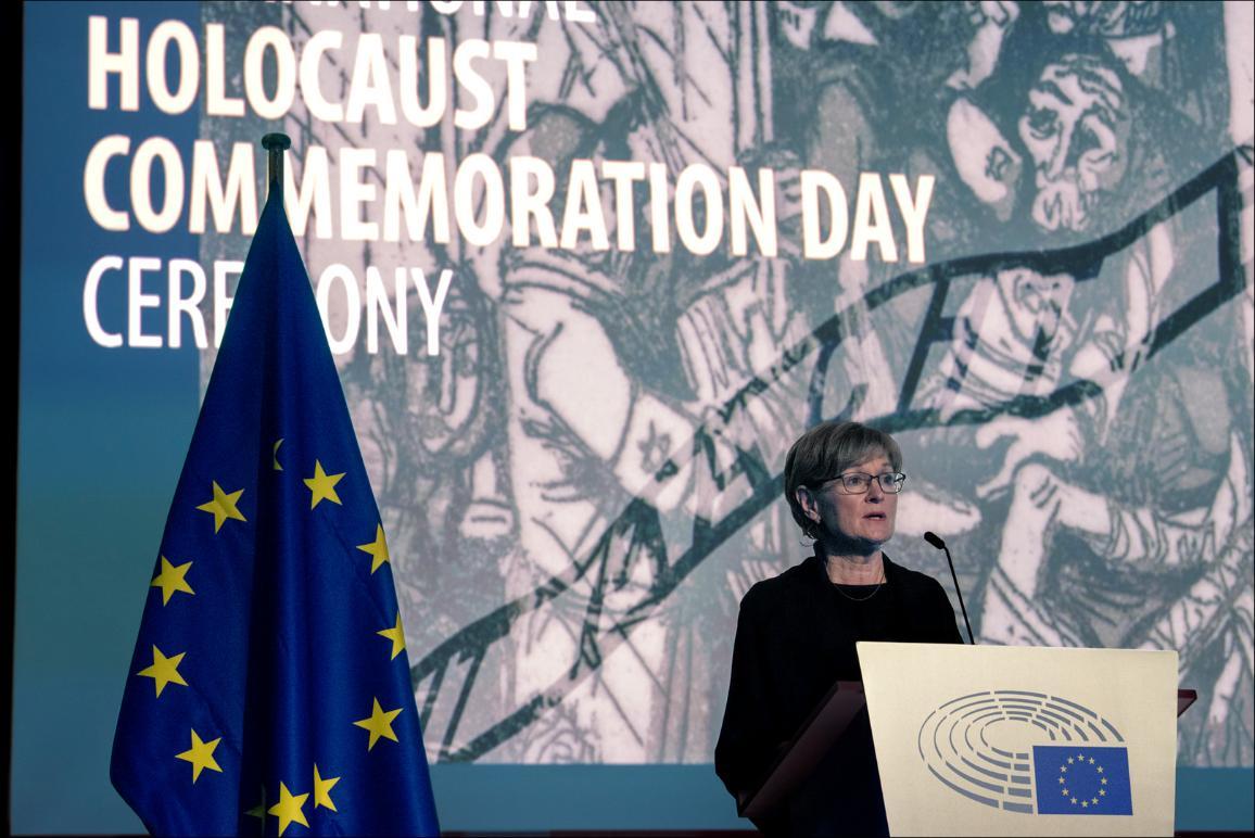 Photo de la première Vice-présidente du Parlement européen Mairead McGuinness lors du discours d'ouverture de cérémonie.