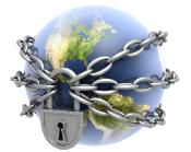 Earth surrounded with chains and a padlock
