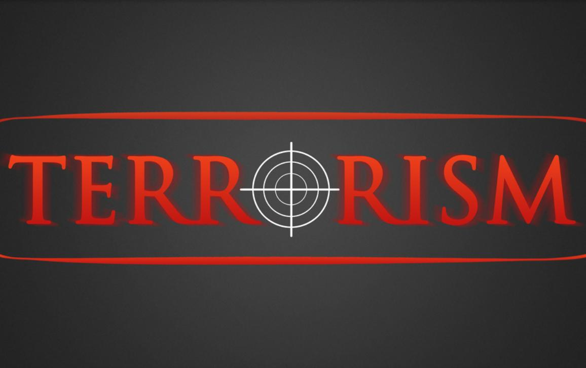 Terrorism illustration - white hairline cross in red lettering
