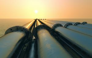 Gas tubes running in the direction of the setting sun pipeline