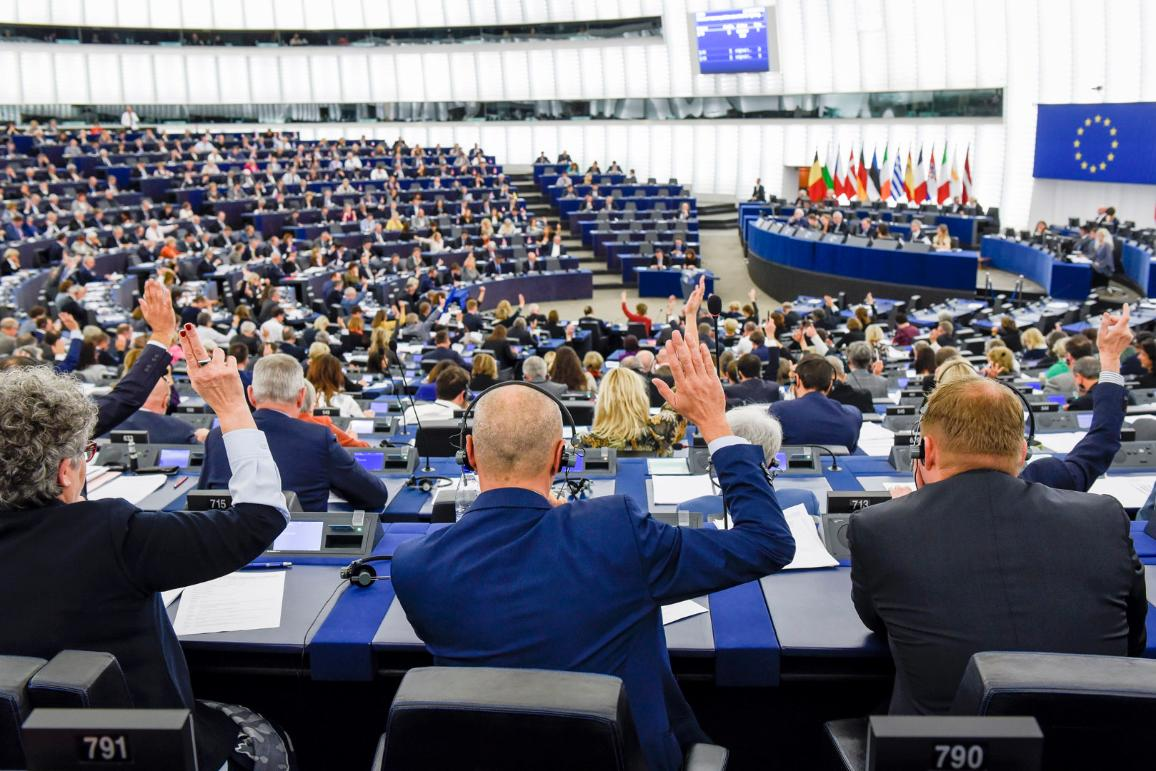 General view of the European Parliament hemicycle in Strasbourg