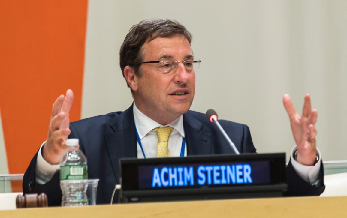 The UN Under-Secretary-General Achim Steiner speaking at a conference