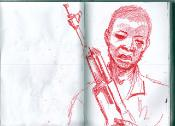 sketch of a teenage boy with machine gun