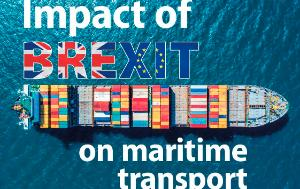 Text 'The impact of Brexit on maritime transport' and containership seen from above