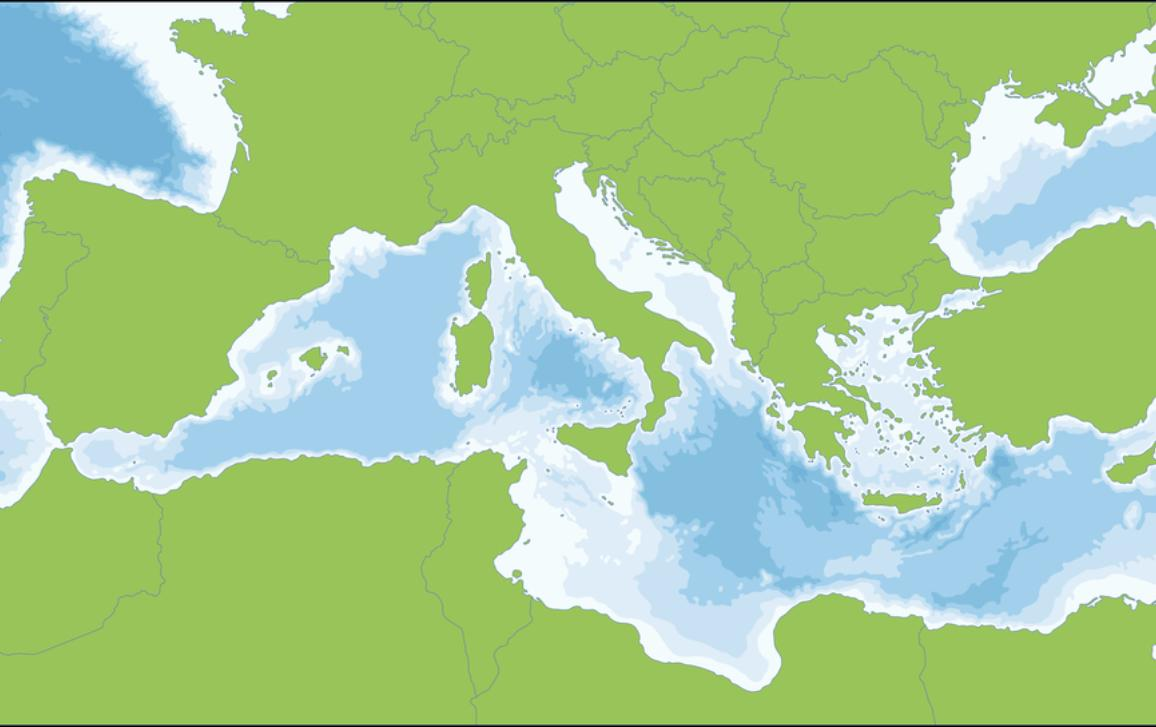 A map of the Mediterranean Sea and Southern Europe. The sea is connected to the Atlantic Ocean surrounded by the Mediterranean region and almost completely enclosed by land