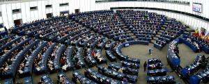 All deputies inside the hemycycle during a European Parliament plenary session in Strasbourg
