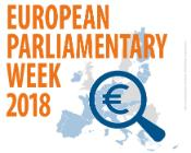 "An image with the text ""European Parliamentary week 2018"" and a map of Europe with a magnifying glass over the map and the symbol for the Euro"
