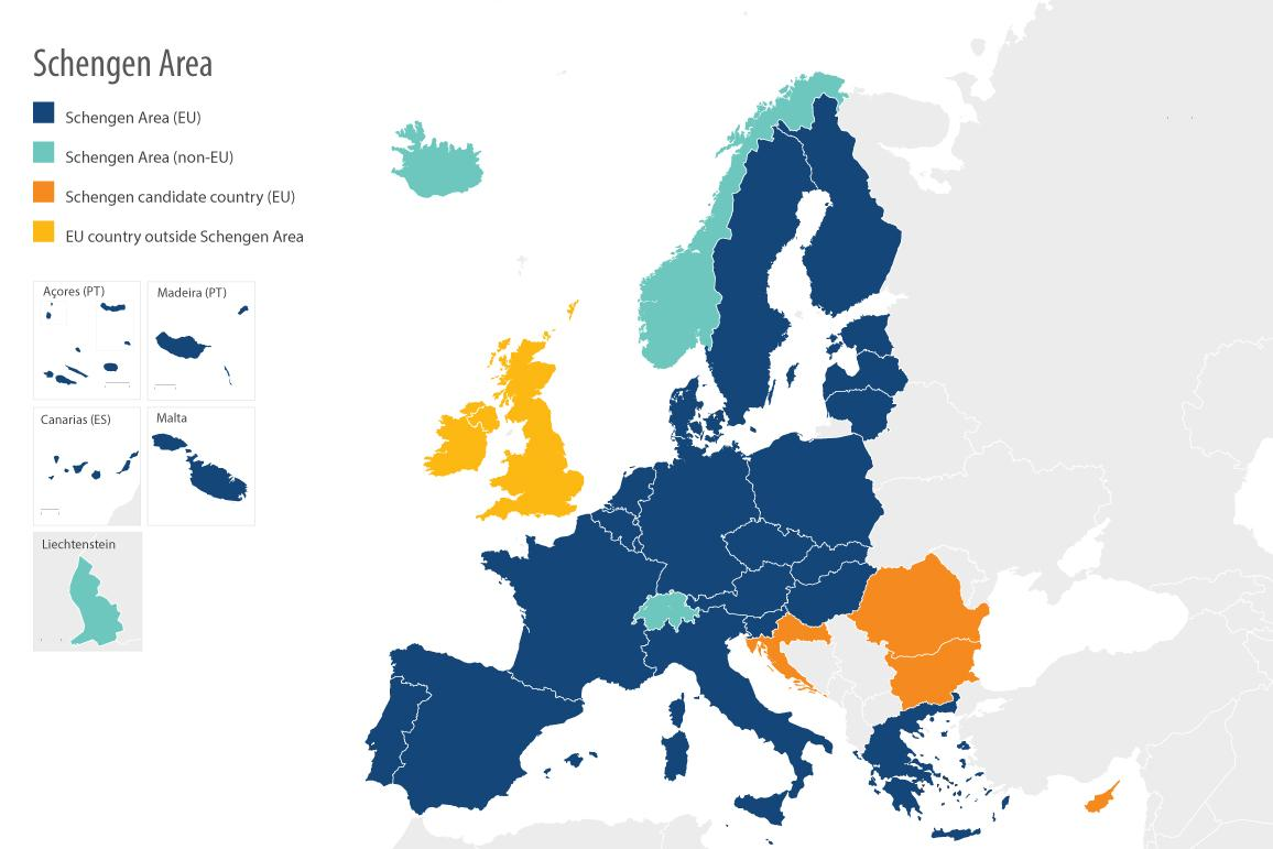 Map of European Schengen Area