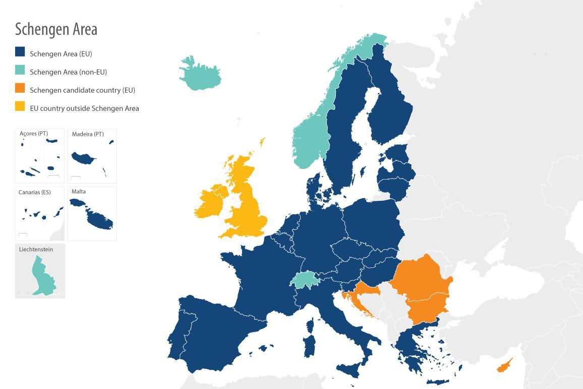 Οι χώρες της ζώνης Σένγκεν .