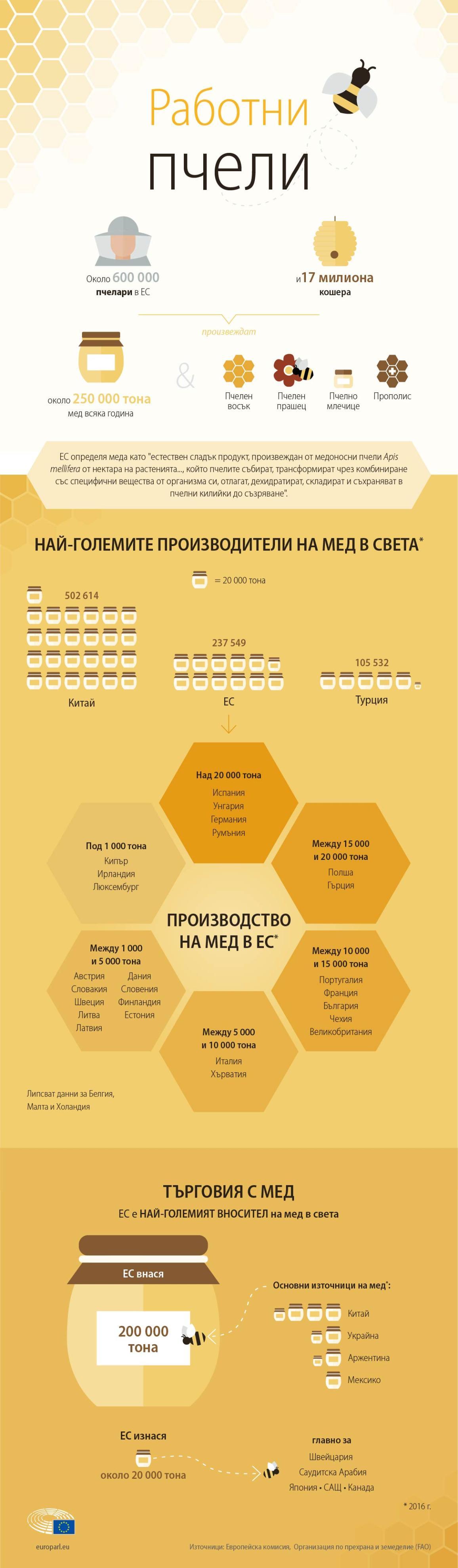Инфографика за пазара на пчелен мед в Европа