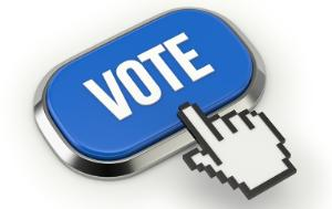 Illustration of a button with the word vote written on it and a hand indicating to press the button
