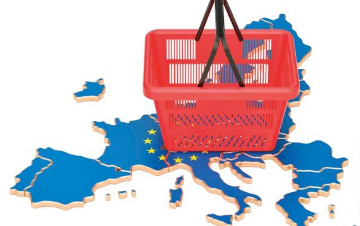 Basket with the European Union map