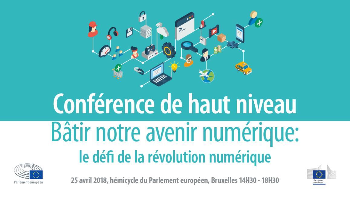 visuel de la conférence de haut niveau « Bâtir notre avenir numérique : le défi de la révolution numérique »