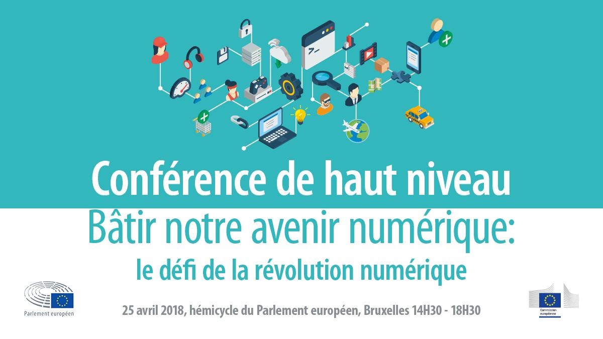 visuel de la conférence de haut niveau « Bâtir notre avenir numérique   le défi  de 168543795c88