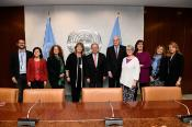 FEMM Committee mission to UN CSW 62 pictured together with UNSG