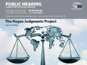 In the upper part of the poster, there is date and time of the hearing and indication of the meeting room. There is Parliament's logo in the upper right corner. Below there is the world map and scales of justice.