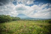 View of volcanic mountains in Virunga, DRC