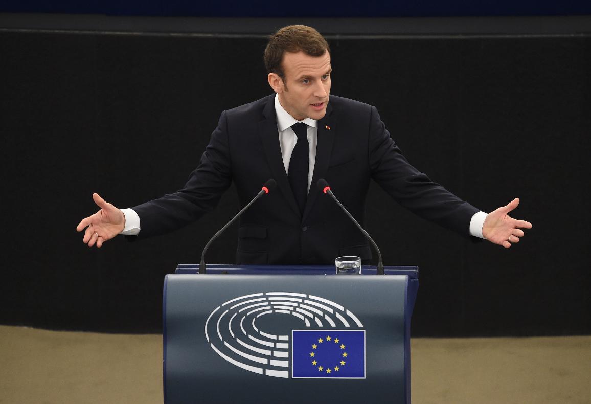 Emmanuel Macron  Président de la Republique Francaise s'adresse aux deputés du Parlement Européen en plenière à Strasbourg.