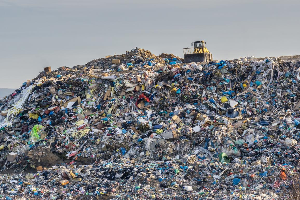 Pollution concept. Garbage pile in trash dump or landfill.