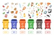 Waste recycling bins illustration, yellow for metal, blue for paper, orange for plastic, green for glass, grey for organic and red for e-waste