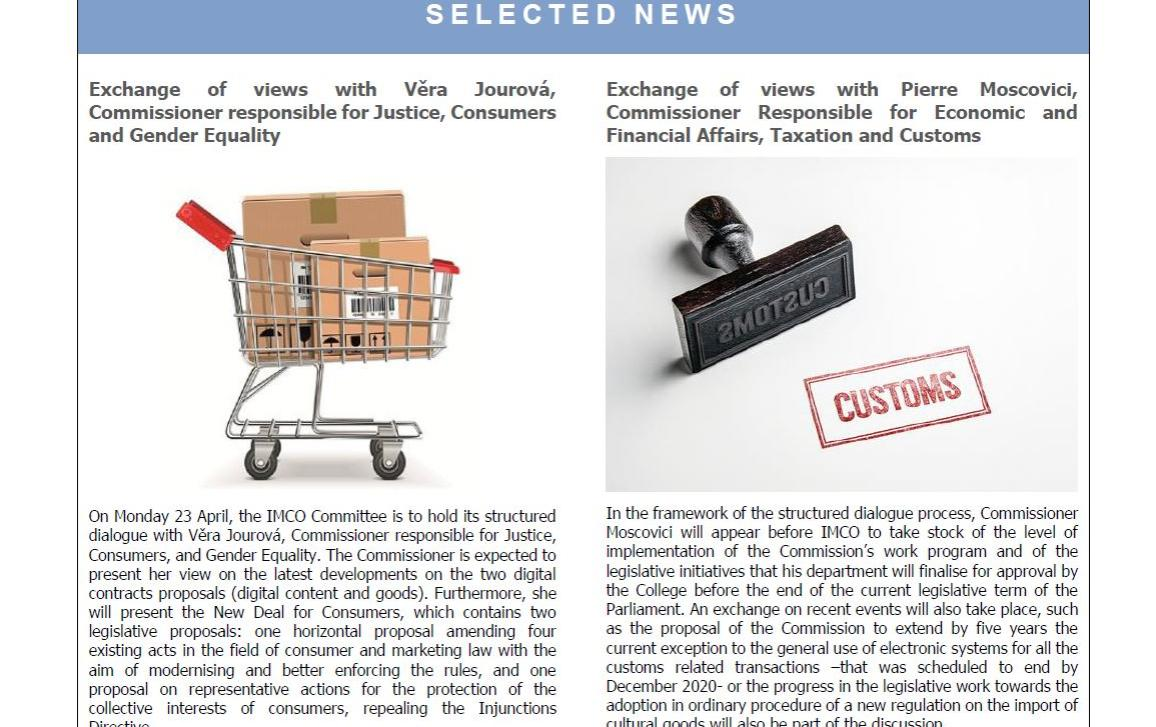 picture of the front page selected news. Issue 91 of IMCO newsletter