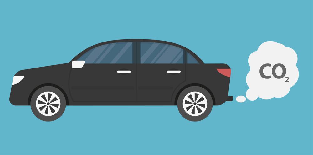 Black car emitting carbon dioxide with a blue background
