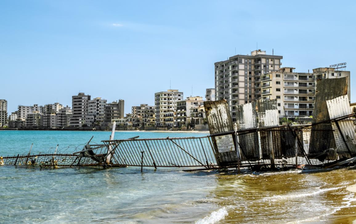 Famagusta.Abandoned hotels and the beach at Varosha in Famagusta .Northern Cyprus.