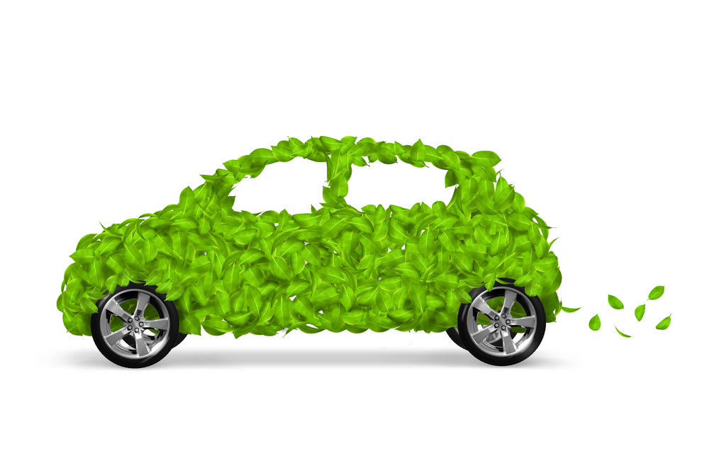Green eco car concept made up of green leaves