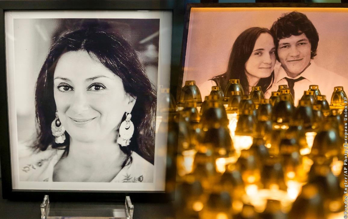 A portrait of the murdered Maltese journalist Daphne Caruna Galizia (L) and of Slovak journalist Ján Kuciak and his fiancée Martina Kušnírová (R).