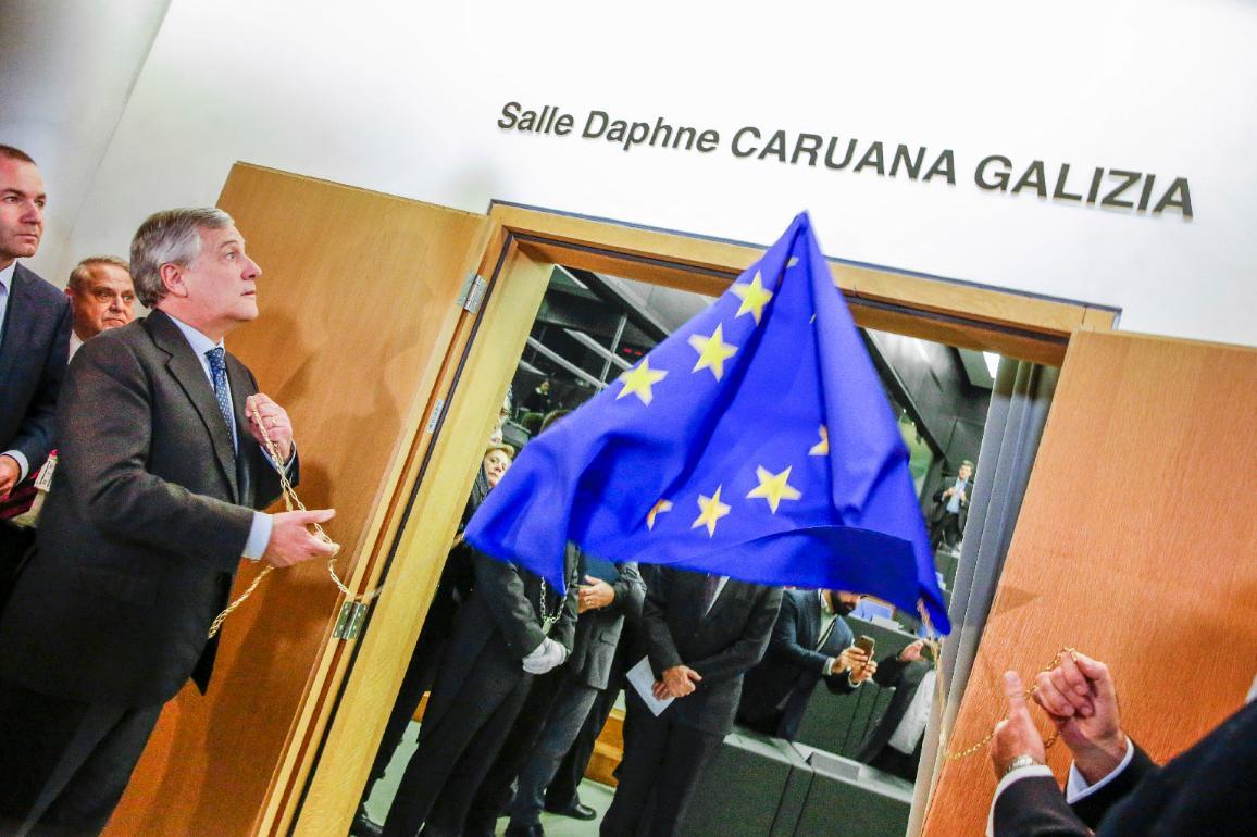 La sala de prensa del Parlamento Europeo en Estrasburgo nombrada en honor de la periodista asesinada Daphne Caruna Galizia