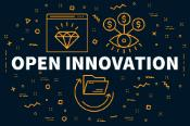 Conceptual business illustration with the words open innovation