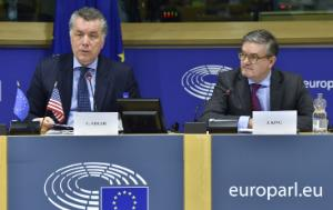 EP Delegation for relations with the United States Chair Mr Christian Ehler and European Commissioner for the Security Union Julian King sitting next to each other in the panel