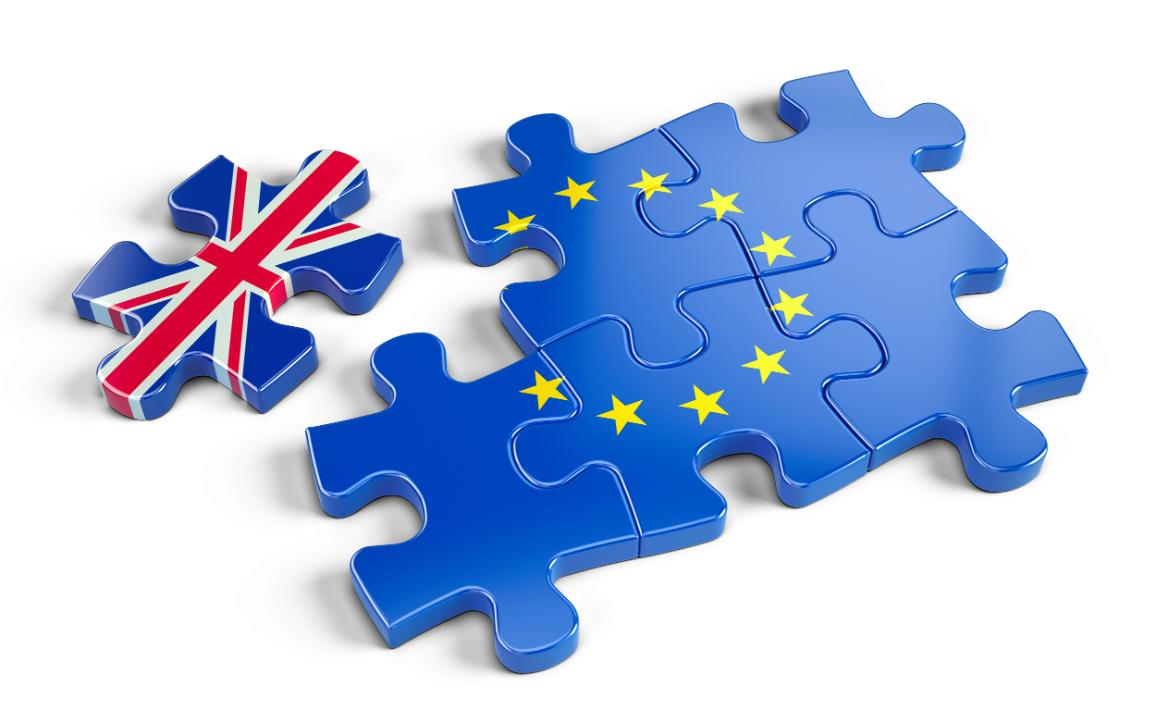 European flag jigsaw puzzle with one piece separated and of the UK flag