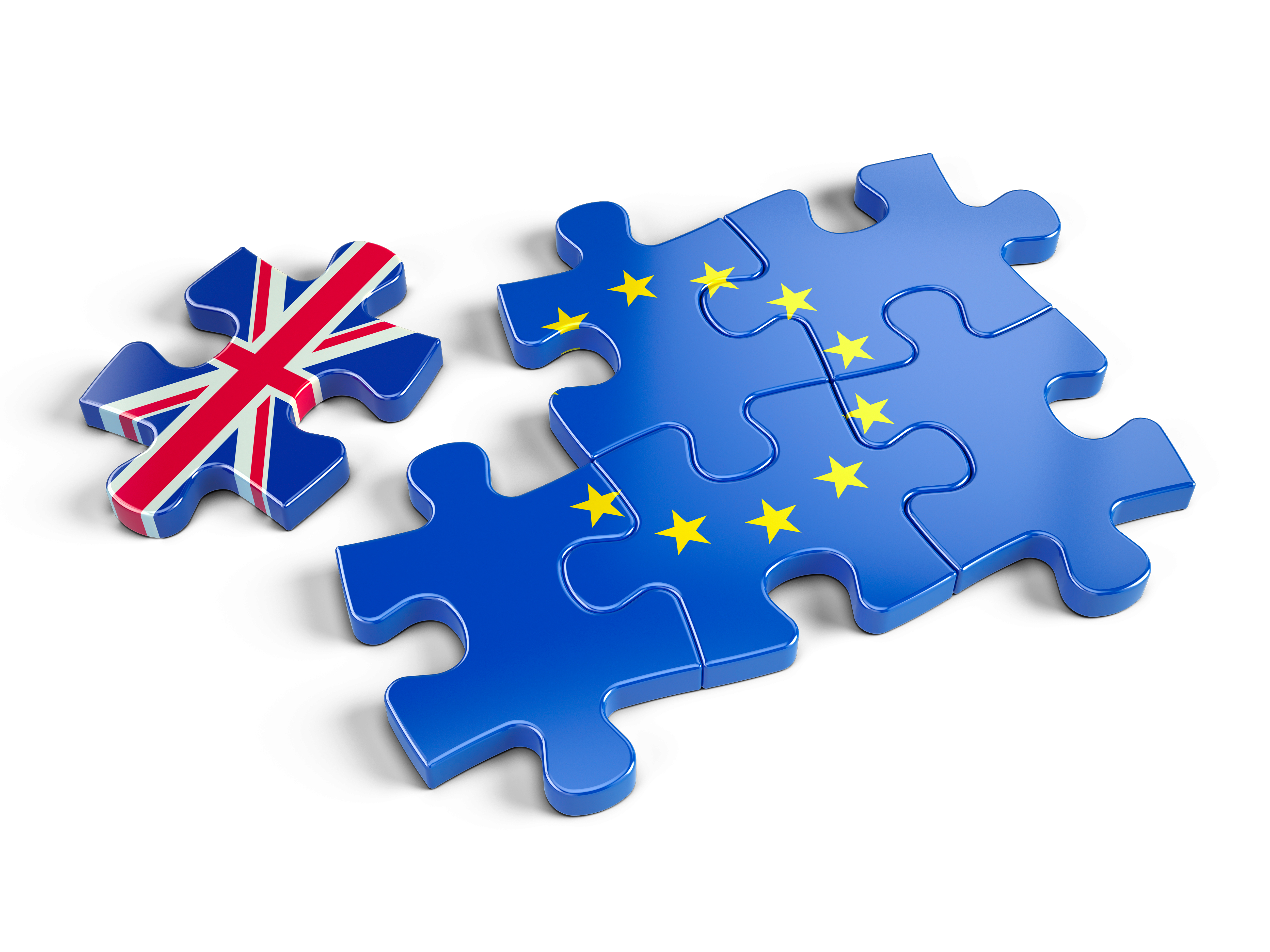Puzzle representing Europe, left by a piece representing the UK