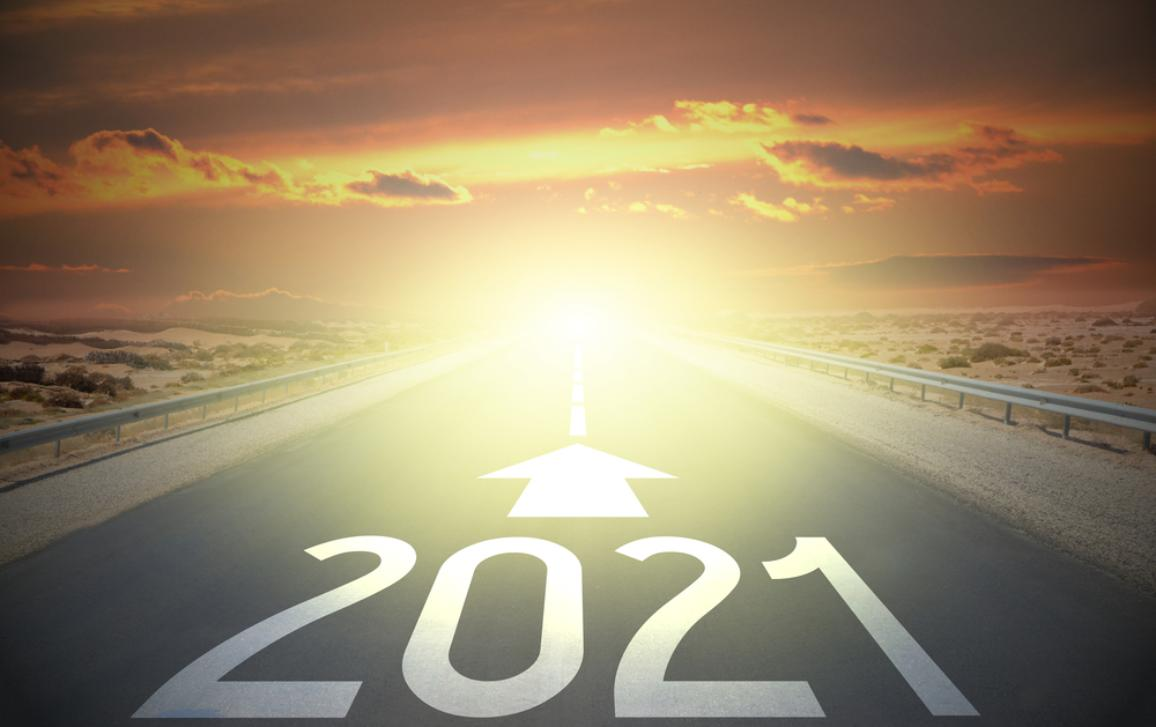 Straight road with the date 2021 and an arrow pointing towards the horizon. MFF 2021 concept