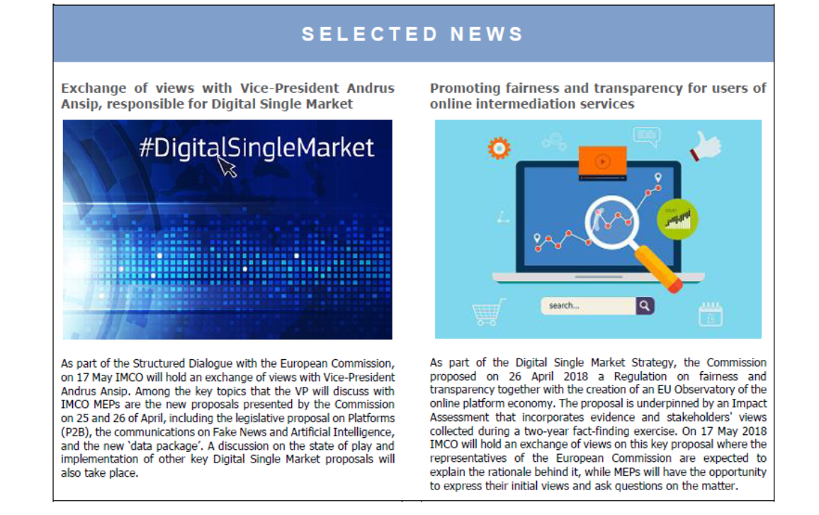 selected news on IMCO newsletter front page - Issue 92