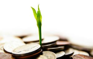 Sprouting plant surrounded by coins