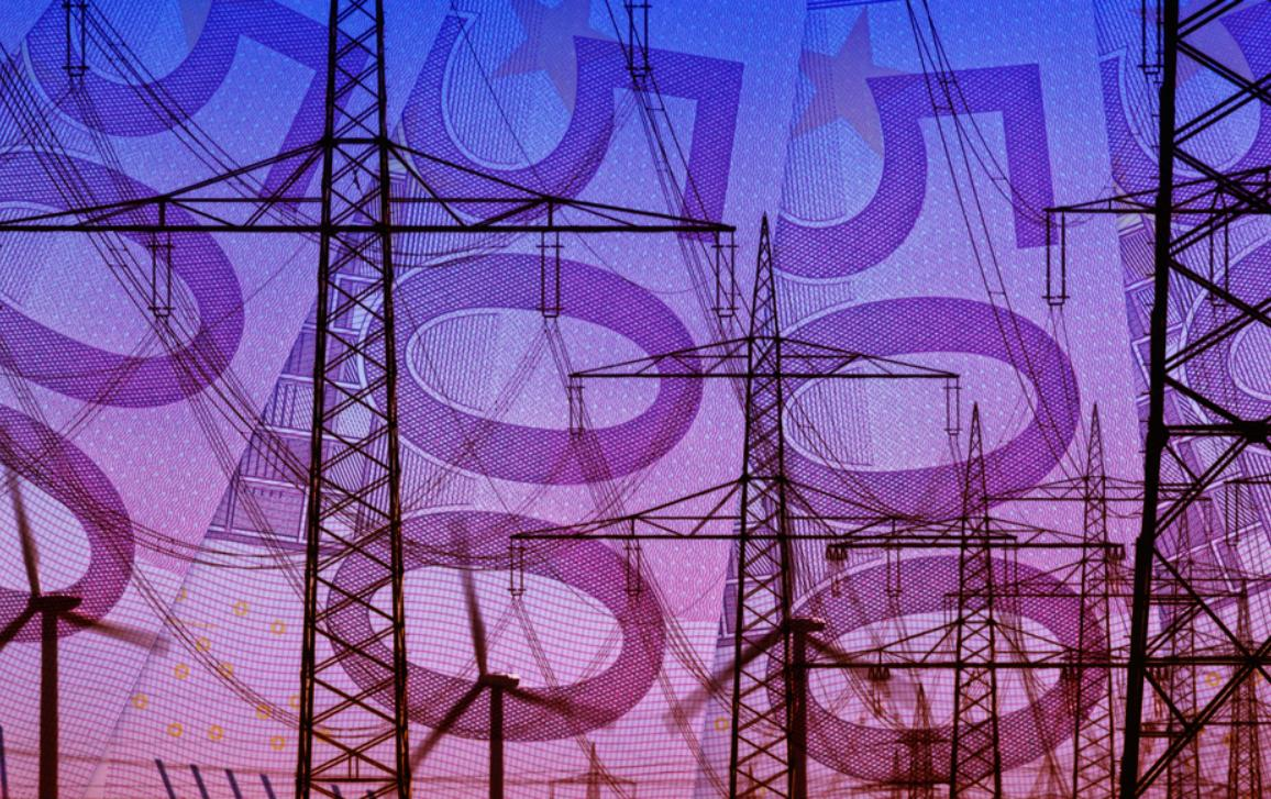 Energy infrastructure power supply on a 500 Euro bills background