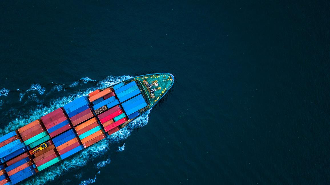 Container ship or cargo ship in import export