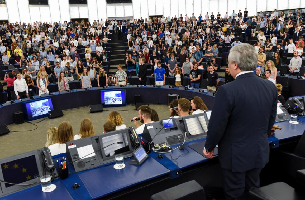 President Antonio Tajani at the opening of the 3rd European Youth Festival (EYE) in the European Parliament in Strasbourg