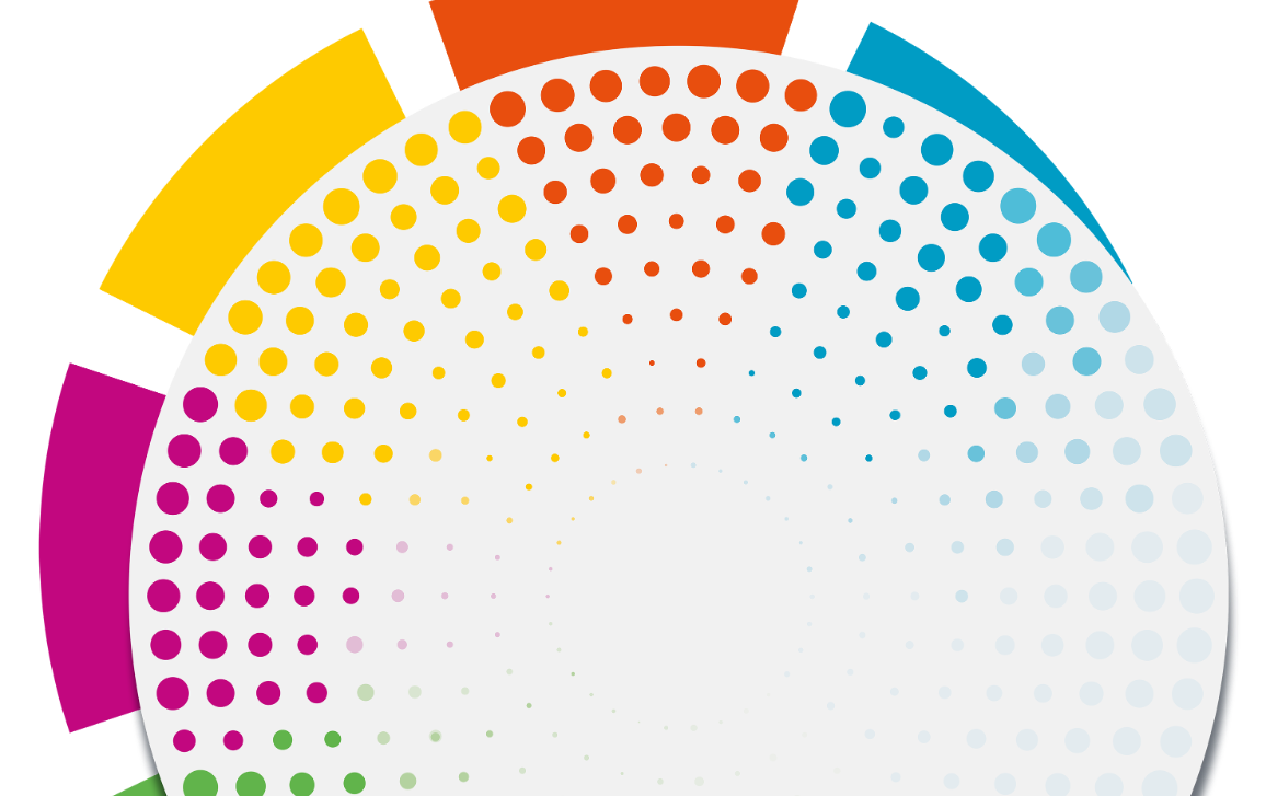 Coloured dots in green, pink, yellow, red and blue in a round shape, representing the five chapters of the Fact Sheets on the European Union.