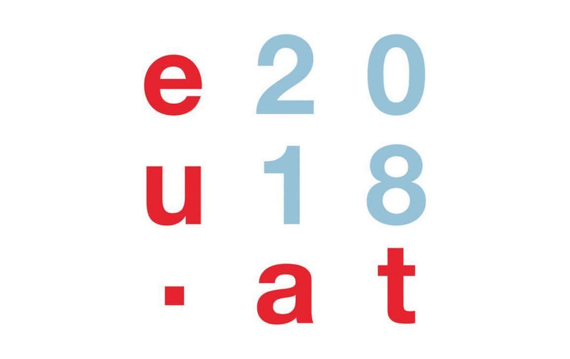 """Logotipo oficial de la Presidencia austriaca del Consejo de la Unión Europea """"eu2018at"""""""