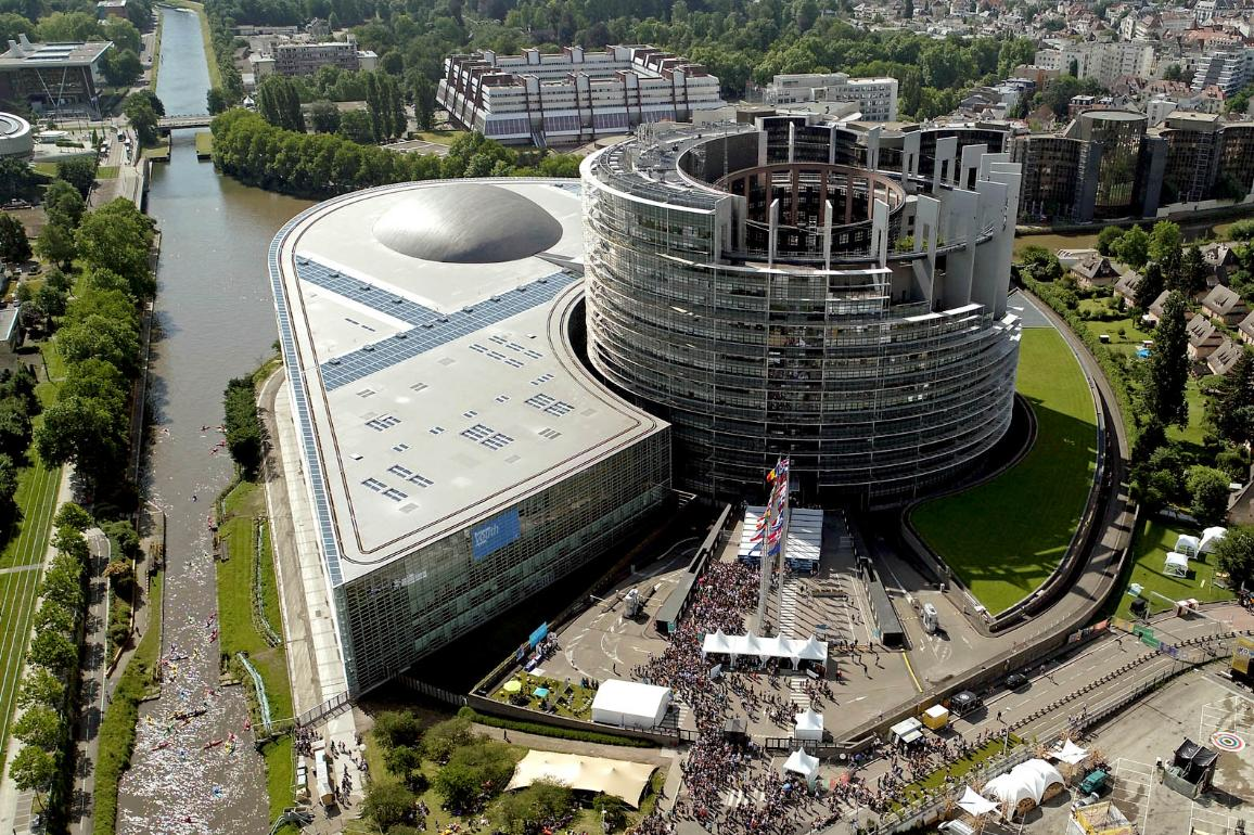 Aerial view of the European Parliament in Strasbourg during the European Youth Event 2018 on the first and second of of June