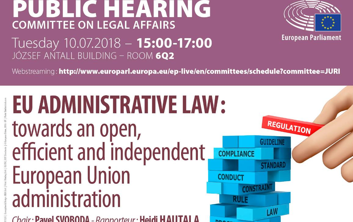 the title and timing of the hearing and on the right a picture with buildings blocks where each of them displays a key word