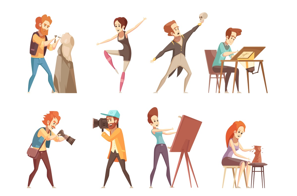 Cartoon icons set of creative professions